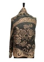 Soft Paisley Viscose Shawl Wrap - Black - Back