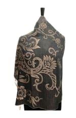 Paisley Long Shawl Wrap - Black - Back