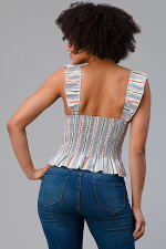 Stripe Button Front Smocked Back Ruffle Strap Top - 2