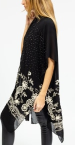 Embroidery Paisley Floral With Stone Border Kimono - 2
