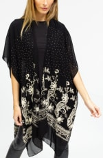 Embroidery Paisley Floral With Stone Border Kimono - 3
