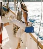 The Hamptons Corner Logo Straw Clutch - Navy - Back