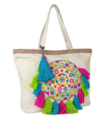 Embellished Woven Cotton Tote with Tassels - Natural - Front