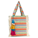 Woven Cotton Jute Fringe Patterned Tote with Tassels - 1