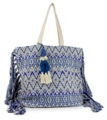 Woven Cotton Printed Bag with Fringe - Navy - Back