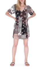 Patchwork Print Sun Dress - Animal Patchwork - Front