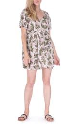 Short Sleeve Tropical Print Sun Dress - Tropical Stripe - Front