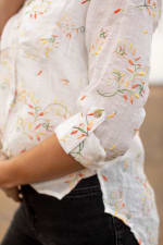 Embroidered Textured Button Front Shirt - 4