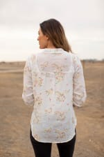 Embroidered Textured Button Front Shirt - Ivory/Multi - Back