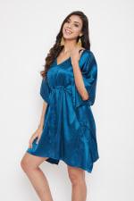 Short Adjustable Satin Tunic Nightwear Dress - Plus - 12