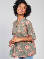 One World 3/4 Bubble Sleeve Peasant Top - 12