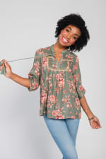 One World 3/4 Bubble Sleeve Peasant Top - 9
