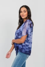 One World Tie Dye Top With Mesh Overlay - 4