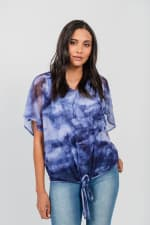 One World Tie Dye Top With Mesh Overlay - Blue - Front