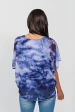 One World Tie Dye Top With Mesh Overlay - Blue - Back