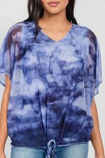One World Tie Dye Top With Mesh Overlay - Blue - Detail