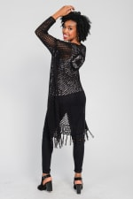 One World Long Sleeve Crochet Duster With Beads - Black - Back