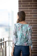Roz & Ali Paisley Tie Sleeve Bubble Hem Blouse - Mint/Coral - Back