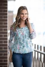 Roz & Ali Paisley Tie Sleeve Bubble Hem Blouse - Mint/Coral - Front