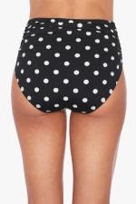 Tahari Sweet Spot Side Ruched Hi-Waist Swimsuit Bottom - Black - Back