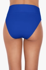 Tahari Solid Fold Over Hi-Waist Swimsuit Bottom - Blue - Back