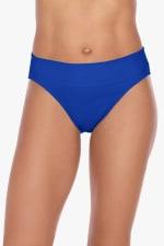 Tahari Solid Fold Over Hi-Waist Swimsuit Bottom - Blue - Front