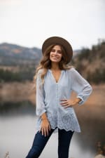 Embroidered Button Front Blouse - Misses - 1