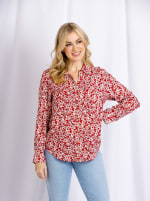 Cooper & Ella Front Button Long Sleeve Harlow Shirt - Coral - Back