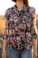 Floral 2 Pocket Side Tie Blouse - Misses - Black Ground - Detail