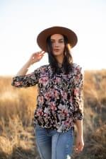 Floral 2 Pocket Side Tie Blouse - Misses - 4