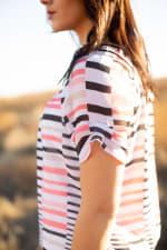 Coral Stripe Bubble Hem Blouse - Misses - White/Coral/Black - Detail