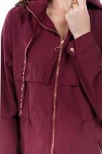 Zipper Nylon Anorak Jacket - Port - Detail