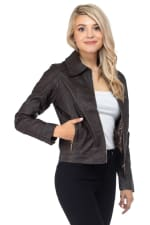 Vegan Leather Jacket with Quilted Detail and Leopard Lining - 8