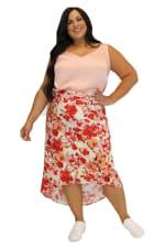 Maree Pour Toi Floral Print High Low Skirt - Plus - 1