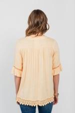 One World Elbow Sleeve Notch Neck Top With Tassels - Plus - Orange - Back