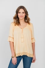 One World Elbow Sleeve Notch Neck Top With Tassels - Plus - Orange - Front