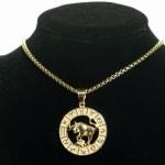 Dell Arte by Jean Claude Taurus Zodiac Sign Pendants Necklace - Gold - Front