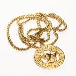 Dell Arte by Jean Claude Taurus Zodiac Sign Pendants Necklace - Gold - Back