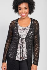 One world Long Sleeve Crochet Duster With Beads - Plus - 8