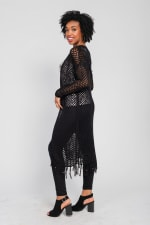 One world Long Sleeve Crochet Duster With Beads - Plus - Black - Back