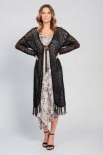 One world Long Sleeve Crochet Duster With Beads - Plus - 10
