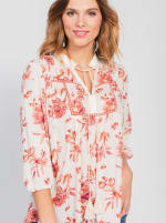 One World 3/4 Bubble Sleeve Peasant Top - Plus - 3