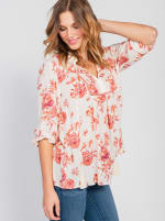 One World 3/4 Bubble Sleeve Peasant Top - Plus - 6