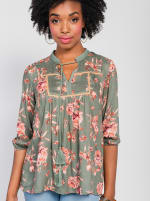 One World 3/4 Bubble Sleeve Peasant Top - Plus - Olive - Front