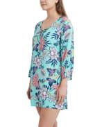 Caribbean Joe Batik Bloom Lace Up Tunic Cover - 3