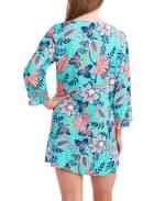 Caribbean Joe Batik Bloom Lace Up Tunic Cover - 2