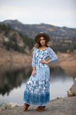 Veronica Ditsy Blue Floral Peasant Dress - 3