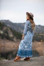 Veronica Ditsy Blue Floral Peasant Dress - Misses - Indigo - Back
