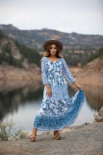 Veronica Ditsy Blue Floral Peasant Dress - 4