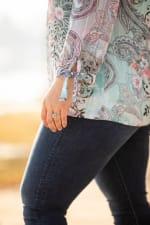 Roz & Ali Paisley Tie Sleeve Bubble Hem - Plus - 3
